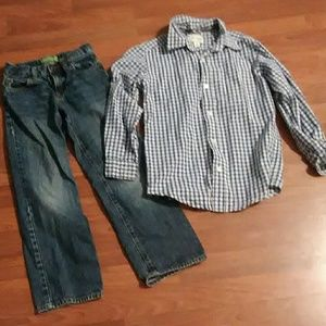 Like New boys sz 8 Jeans and l S Top